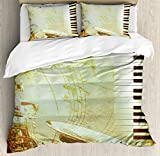 Ambesonne Music Duvet Cover Set, Print of Piano Keys on Background with Music Notes Image Nostalgia Jazz Theme, Decorative 3 Piece Bedding Set with 2 Pillow Shams, King Size, Pale Yellow Black