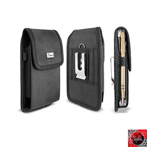 TMAN Schutzhülle für Motorola Moto E5 Supra, Moto E5 Plus Hülle, strapazierfähiges Canvas-Nylon, Tasche Metall-Gürtelclip für Motorola Moto E5 Supra/e5 Plus, XL Size Fit, schwarz