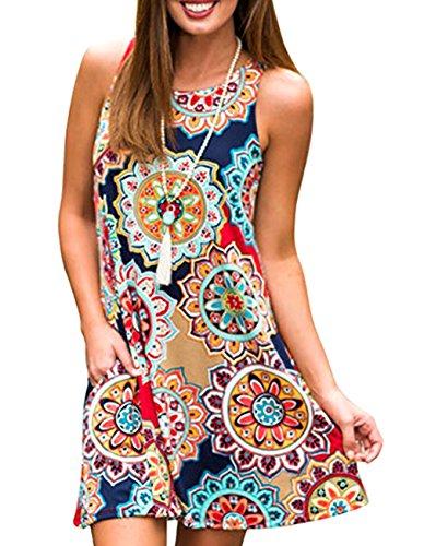 Women's Summer Sleeveless Damask Tunic Top Casual Floral Print T-Shirt Midi Dress with Pocket for Legging (Medium, Geometric)