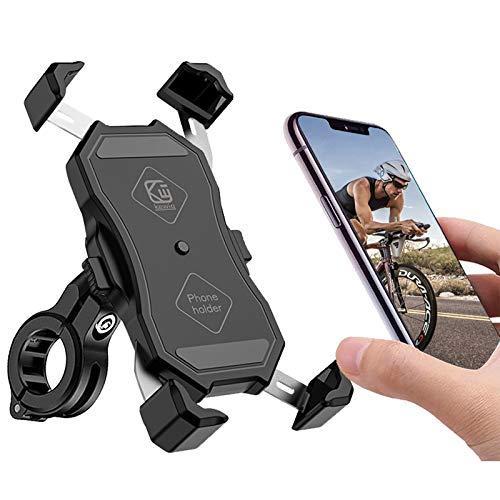 Handyhalterung Fahrrad, Motorrad Scooter Universal Smartphone Handyhalter Lenker Halter 360° Drehen Anti-Shake Edelstahl Handyhalterung für 4,7-6,5 Zoll Smartphone, wie iPhone 11 Samsung Huawei usw.