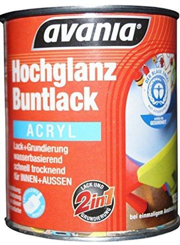Avania Hochglanz Buntlack / Acryllack / weiß / 375 ml / 2 in 1 Lack u. Grundierung / Malerqualität für Holz, Putz,Beton, Mauerwerk, Kunststoff,Eisen, Stahl, Metall,Zink, Aluminium, Kupfer