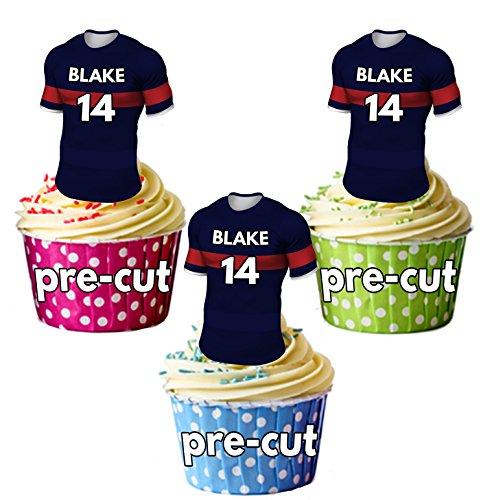 AK Giftshop PRECUT gepersonaliseerde Rugby shirts met uw gekozen naam & NUMBER - eetbare cupcake toppers/taart decoraties Doncaster ridders kleuren (Pak van 12)