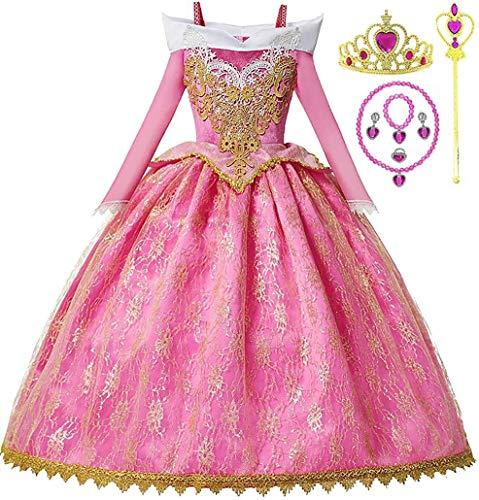 Romy's Collection Princess Toddler Sleeping Beauty Aurora Girls Costume Dress Up Set (4-5, Pink)