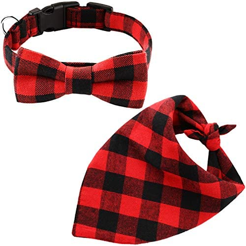 2 Pieces Dog Bandana and Collar Set Plaid Triangle Scarf and Adjustable Bowtie Collar for Christmas product image