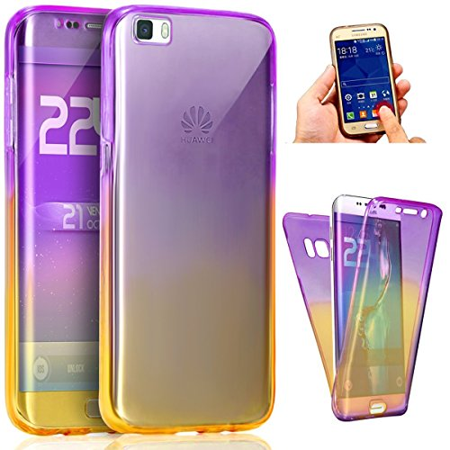 Kompatibel mit Huawei P8 Lite Hülle,Huawei P8 Lite Schutzhülle,Full-Body 360 Coverage Farbverlauf TPU Silikon Hülle Handyhülle Tasche Front Cover Transparent Schutzhülle für Huawei P8 Lite,Lila Gelb