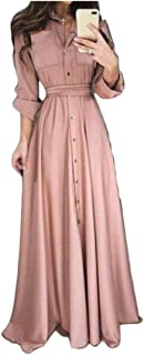 Wopop Women Casual Long Sleeve Button Up Big Hem Pleated Party Long Maxi Dress