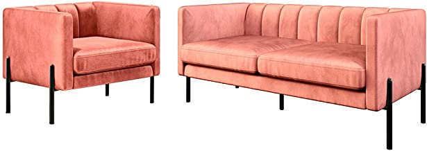 Velvet Fabric Sofa Lounge Accent Armchair Steel Legs Living Room Furniture (Set, Blush)