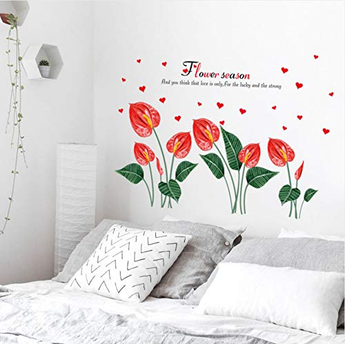 Pmhc Antraciet bloem wandsticker slaapkamer nachtkastje kunstenaarsachtergrond muur decoratie wandtattoos Home Decor