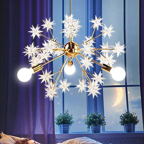 LFK Lámpara de dormitorio nórdico para restaurante creativa lámparas de luz de lujo con chispas y estrellas niña Red araña roja E27 x 3 x 5 W (luz cálida)