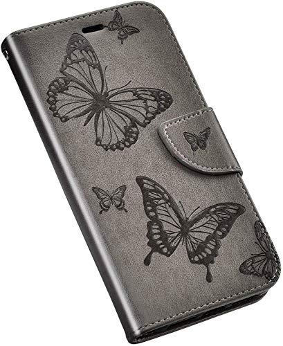 QPOLLY Kompatibel für Samsung Galaxy A6 2018 Hülle Leder Tasche Flip Case Blume Muster Handytasche Magnet Schutzhülle im Brieftasche-Stil mit Kartenfächer Standfunktion,Grau
