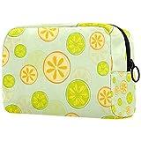 Bolsa de cosméticos para mujeres, verde amarillo rebanado limón, bolsas de maquillaje accesorios organizador regalos