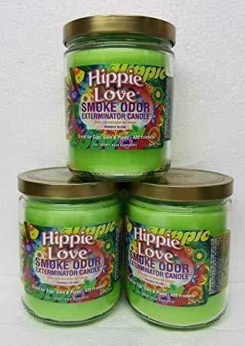 Smoke Odor Exterminator 13 oz Jar Candles Hippie Love, (3) Set of Three Candles.