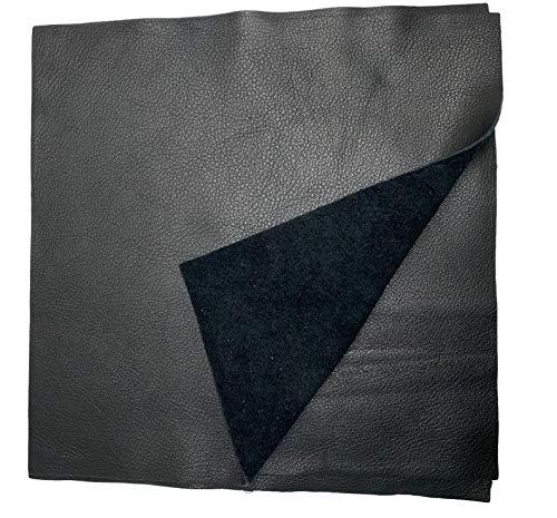 Natural Grain Cow Leathers: 12'' x 12'' Pre-Cut Leather Pieces (Black, 1 Piece)