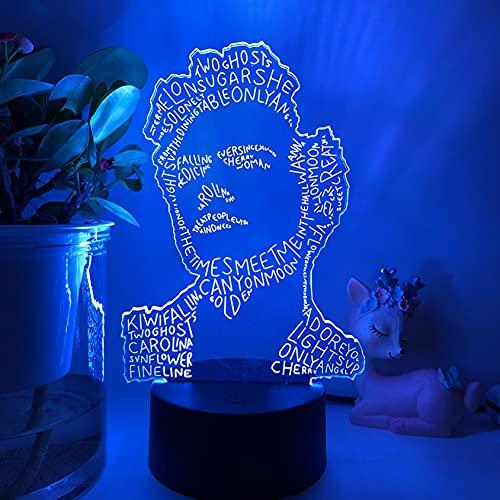 Gevo Apan Luz de noche 3D Anime japonés Ilusión Lámparas de decoración LED Lámpara de Harry Styles Regalo para fanáticos Luz de dormitorio Sensor táctil LED Lámpara de escritorio (Base negra)