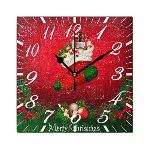 Jacque Dusk Reloj de Pared Moderno,Feliz Navidad Media Poinsettia Bola Roja,Grandes Decorativos Silencioso Reloj de Cuarzo de Redondo No-Ticking para Sala de Estar,25cm diámetro