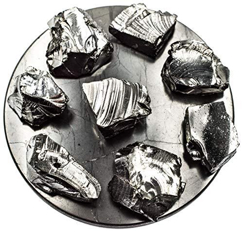 Wallystone Gems Elite Noble Shungite Stones Silver Bulk Lot Natural 3.5 Oz 100g 5-9 gr one Stone for Water & Jewelry Making from Russia