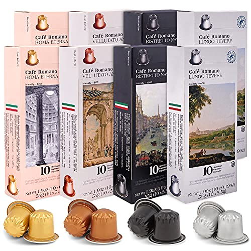 Café Romano Espresso Capsules Single Cup Aluminum Coffee Pods Compatible with Nespresso Original Machine, 80 Capsules, (Variety pack)