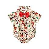 Bebé Niños Formale Camisa de Manga Corta con Caballeros Pajarita Verano Camisas con Estampado Papá Noel Alce Árbol Monigote de Nieve Mameluco de Algodón Monos de Carnaval de Navidad Rojo 6-12 Meses