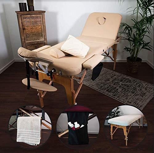 MASSUNDA Massunda All Inkl Massage-Liege klappbar und höhenverstellbar – mobiler Massagetisch aus Vollholz inkl. Frotteebezug, Arm- und Rückenlehne, Nackenkissen, ergonomische Kopfstütze (Creme-beige)