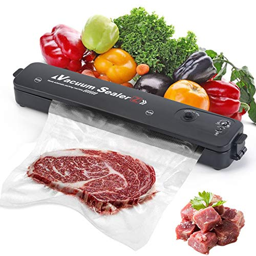 YEIO Vacuum Sealer Machine, Automatic Food Sealer for Food Preservation, Suitable for Dry & Moist Food, Portable Sealer with 15 Vacuum Sealer Bags | Compact Design | Easy to Clean | Led Indicator Lights | Vacuum and Seal Modes