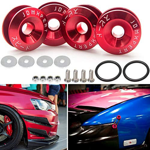 Xotic Tech JDM Quick Release Fasteners for Car Bumpers Trunk Fender Hatch Lids(Red)
