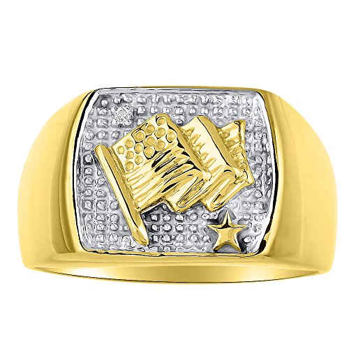 RYLOS Mens Rings 14K Yellow Gold - Diamond Ring Lucky Pinky Ring - Patriotic U.S. Flag Rings For Men Mens Jewelry Gold Rings