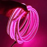XUNATA 5m Rosa Striscia LED al Neon con Alimentatore, Flessibile, Impermeabile, DC 12V Luci LED 2835 per Esterni, Feste, Decorazione per Feste, Insegne Pubblicitarie