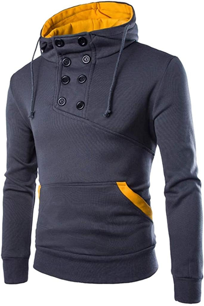 HONGJ Button Up Pullover for Mens, Color Block Patchwork Hooded Sweatshirts Turtleneck Workout Sports Casual Hoodies
