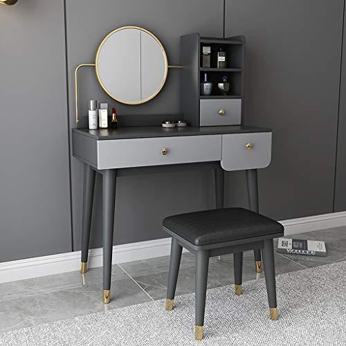 YXF Modernes Schminktischset mit Spiegel / 3 Schiebeschubladen Elegante Schlafzimmermöbel, für Schlafzimmer, Ankleidezimmer Mädchen