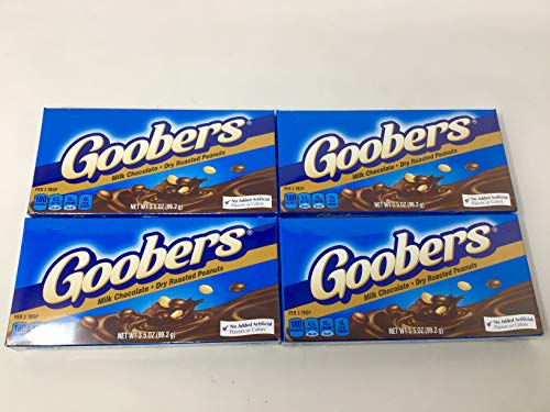Nestle Goobers - Chocolate Covered Peanuts (Pack of 4) 3.5 oz Theater Boxes
