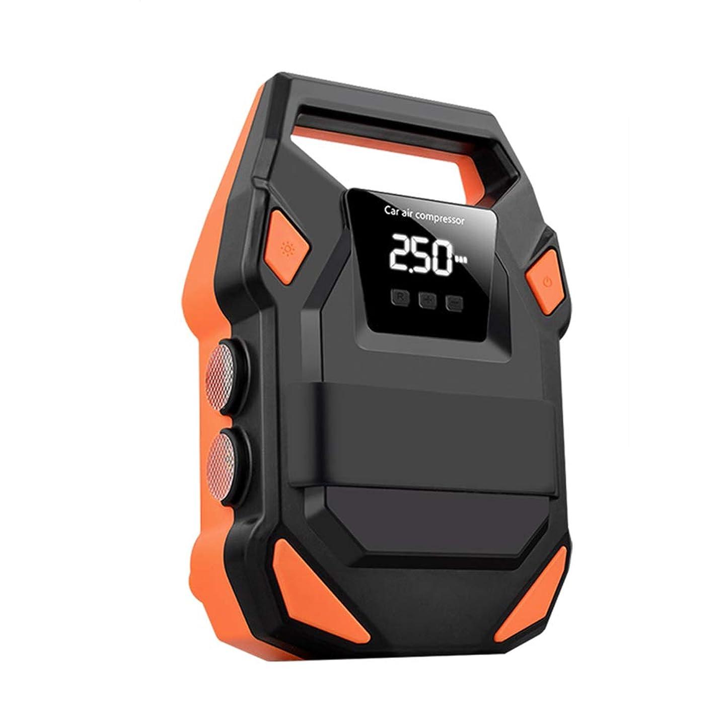 基礎マラソン怒ってQXKMZ エアコンプレッサ, タイヤのインフレーターの自動タイヤポンプ圧力計が付いている携帯用デジタルタイヤのインフレーター、貯えること容易なLEDライト
