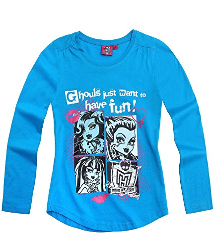 Monster High - Camiseta de Manga Larga - para niña Azul 12 años
