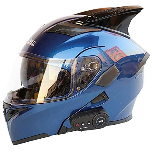 HVW Cascos de Moto Bluetooth, Certificación de Puntos/ECE Motorbike Modular Motocicleta Casco Locomotora Bluetooth FM Dual-Altavoz Cara Completa Flip Up Cascos de Motocicleta,C,XL61to62cm