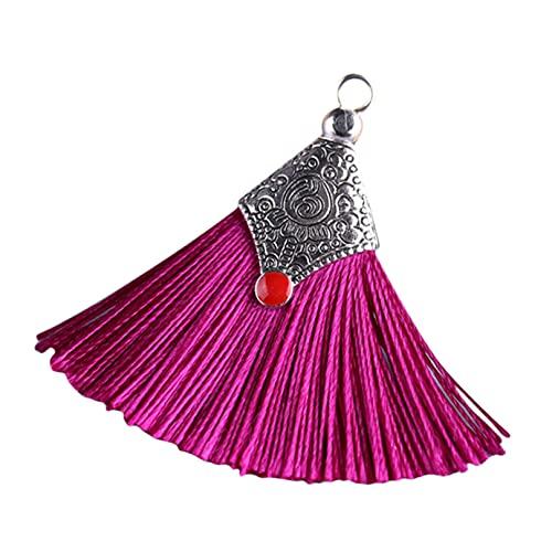BCDZZ 1 par de pendientes colgantes en forma de abanico con borla estilo boho, elegante y simple, para mujeres y niñas, fucsia
