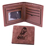 Classic Men's Wallet Photo Wallet Personalized Custom Wallet Engraved Picture & Text Leather Wallet Father's Day Gift(Dark brown Single-sided)