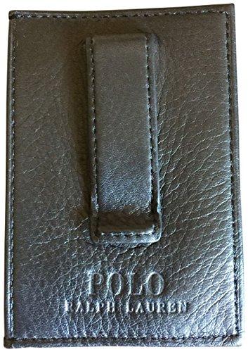 Ralph Lauren Polo Men Big Pony Logo Soft Leather Slim Card Case Money Clip Wallet Black