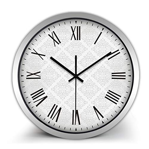 XZGang Klassische Quarz-Taktgeber Blumengeschäft Silent-Uhren Römische Zahl Wanduhr Grau-Druck-Muster Uhren Korridor Runde Wanduhr -Dekorate Ort des Lebens ( Color : B , Size : 12 inches )