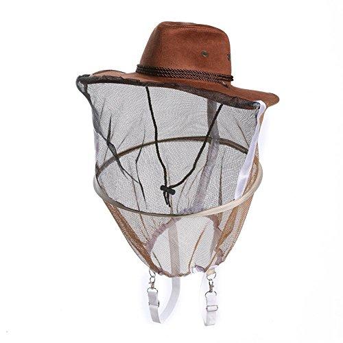Demiawaking Cappello da Cowboy per Apicoltore Cappello con Velo Anti-Zanzara Anti-Ape Anti-Insetto Protezione per il Viso per Apicoltura,Pesca all'aperto