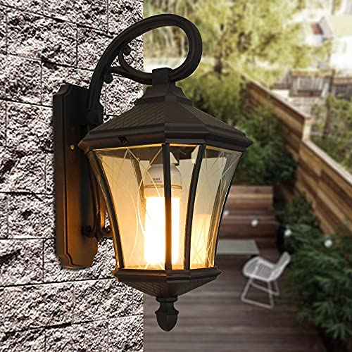 Dkdnjsk Industrial pared luz de cristal sombra interior vintage vintage vintage wall sconence rural rural aluminio e27 negro elegante lámpara pared impermeable balcón moderno al aire libre pared luz p