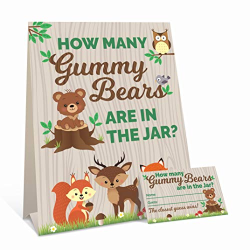 Woodland Baby Shower Games - Guess How Many Gummiby Bears Game (Schild mit 30 Karten)