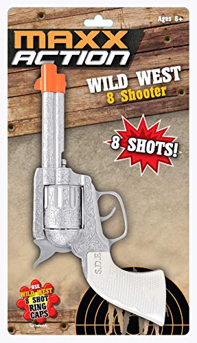 Sunny Days Entertainment Wild West Toy Cap Pistol – Western 8 Shooter Role Play Toys | Cowboy Sheriff Costume Accessory | Ring Caps Sold Separately – Maxx Action, Silver, (Model: 10504)