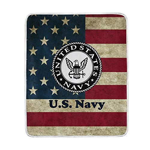 """poeticcity 1PC Blanket, US Navy Plush Throws Siesta Camping 50""""X60"""" Travel Fleece Blankets Quilt Carpet Lightweight Soft Bed SOFE Couch"""