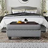 HONBAY Upholstered Storage Bench Ottoman with Tray Coffee Table Ottoman with...