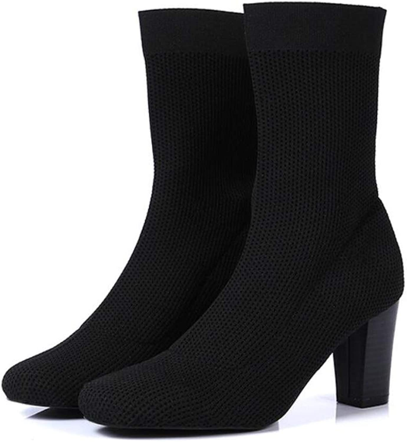 DANDANJIE Women's Boots Black High Heels Popular Pointed shoes Stretch Socks shoes Autumn