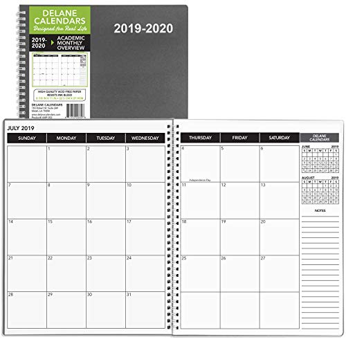 2019-2020 KITLIFE Annual Planner - 18 Month Academic Monthly Schedule � Spiral Bound Appointment Book � Schedule Your School or Work Day � Student/Teacher Agenda with Premium Paper, 8.5 x 11�, Grey