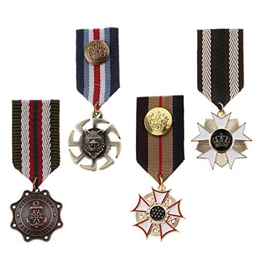 P Prettyia 4 Unids Retro Militar Broche Medalla Broche Broches Insignia De Metal Broche Pin Vintage Star Charms Broches