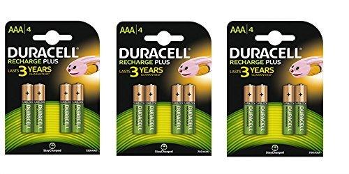 12x AAA 750mAh 1,2V NiMh Duracell vorgeladene wiederaufladbare Batterien HR03–3Packungen