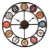 Reloj de pared iVansa, grande XXL, de 60cm, de metal, vintage, sin ruido tic tac, decoración para el hogar, la cocina, el salón, hierro, 6, 60 cm
