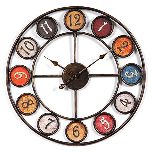 CT-Tribe Reloj de Pared Grande XXL 60 cm, Reloj de Pared Silencioso Vintage Reloj Decoración Adorno para Hogar Salon Oficina