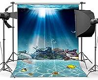 新しい水中世界の背景5X7FTビニール水族館の背景魚サンゴ夏のバーベキュー写真の背景誕生日パーティールームの壁紙海セーリング写真スタジオの小道具38